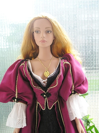 Elizabeth Swann - OOAK plum dress for doll from Pirates of the Caribbean movie