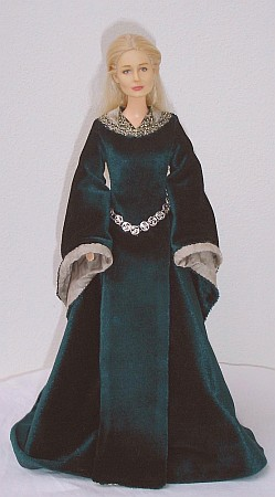 EOWYN -green  gown - OOAK costume for doll