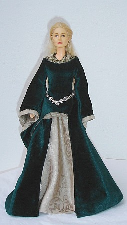 EOWYN - green  gown - OOAK costume for doll
