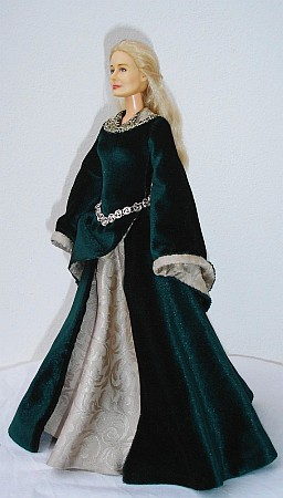 Green  gown - OOAK costume for doll