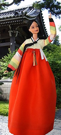 "han-bok, OOAK korean traditional costume for 12"" Barbie doll"